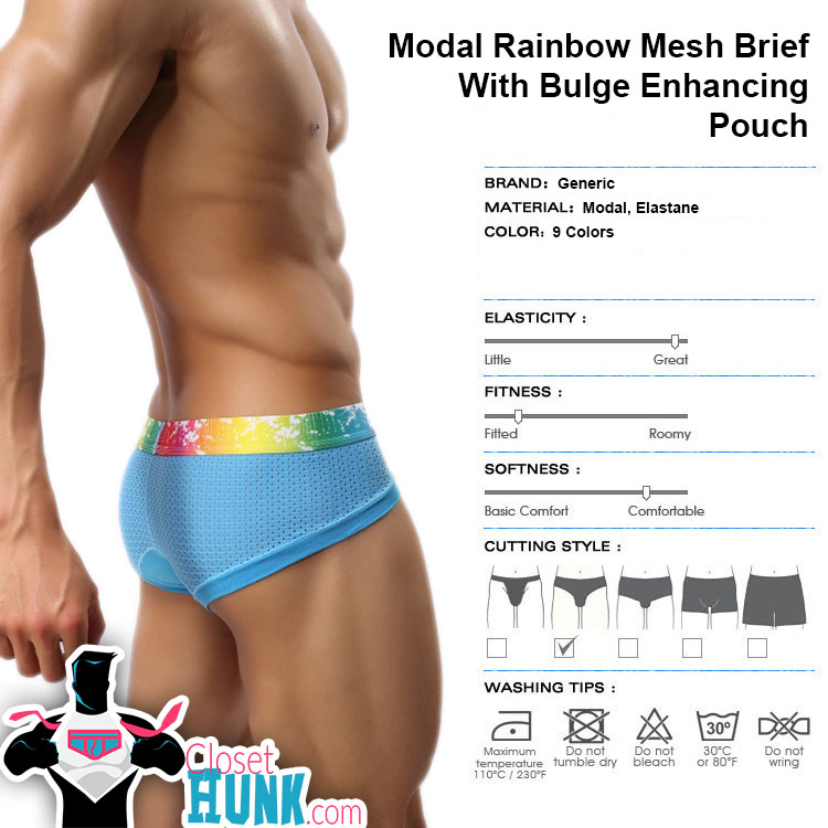 Sexy Modal Rainbow Mesh Brief With Bulge Enhancing Pouch | 9 Colors